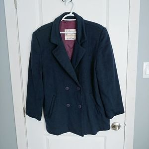 Vintage London Fog Navy Blue Pure Virgin Wool Coat